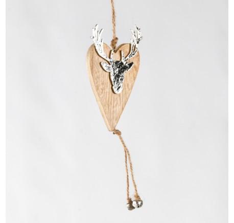 Coeur en bois naturel contour pailleté avec tête de cerf - Décoration de Noël  - Lecomptoirdesauthentics