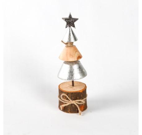 Sapin argenté en bois naturel sur socle Haut. 22 cm - Décoration de Noël  - Lecomptoirdesauthentics