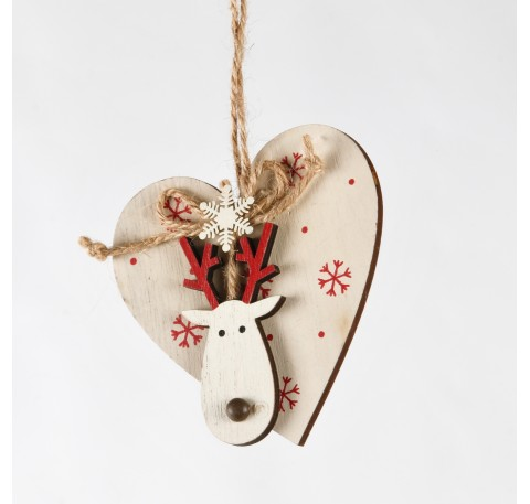 Suspension Coeur en bois blanc avec tête de cerf Haut. 10,3 cm