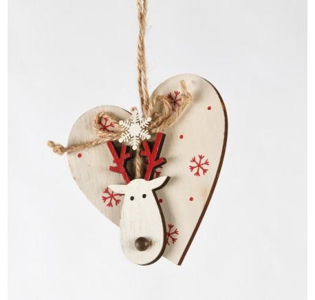 Suspension Coeur en bois blanc avec tête de cerf 10 cm - Décoration de Noël  - Lecomptoirdesauthentics