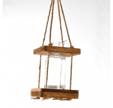 Soliflore en verre Suspension support bois et corde Haut. 21,5 cm