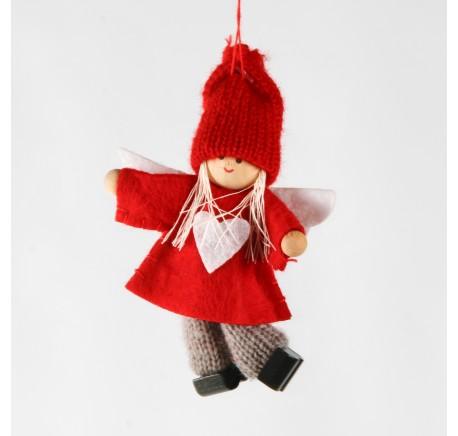 Lutin en feutrine veste rouge coeur blanc Haut. 10 cm - Décoration de Noël  - Lecomptoirdesauthentics