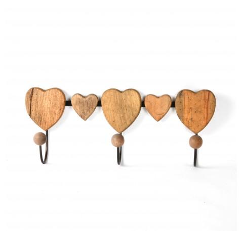 Patère coeurs 3 crochets en bois et métal 43cm
