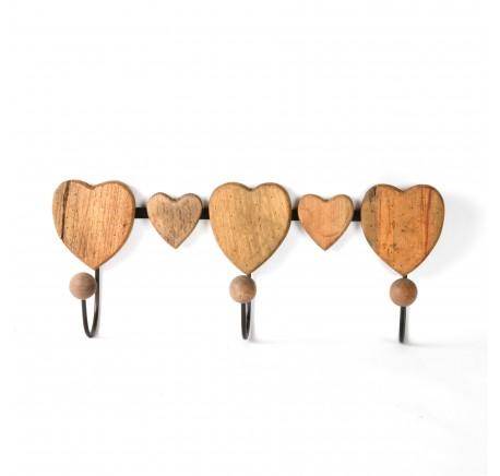 Patère coeurs 3 crochets en bois et métal 43cm - Etagère - Chambre à coucher - Lecomptoirdesauthentics
