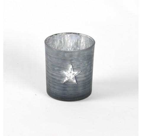 Photophore en verre Laqué Gris avec Etoile Haut. 8 cm