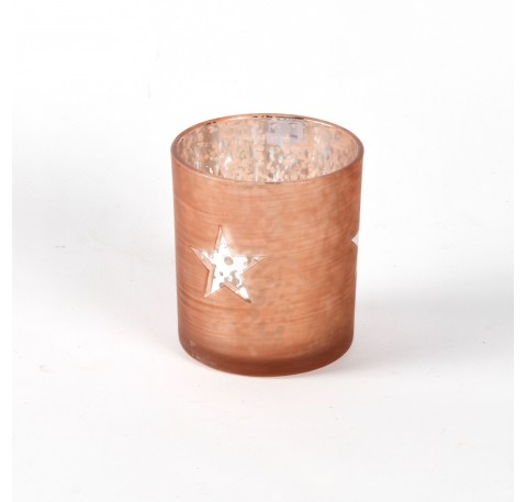 Photophore en verre Laqué Brun avec 3 Etoiles Haut. 8 cm