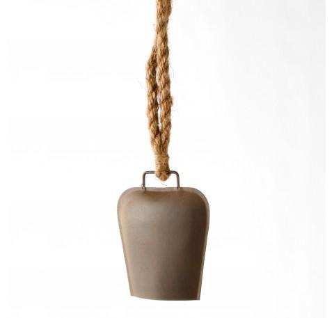 Cloche métal effet rouillé sur corde Hauteur Totale 63 cm