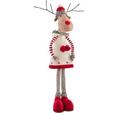 Figurine Renne de Noël Fille Debout Téléscopique 83cm. - Décoration de Noël  - Lecomptoirdesauthentics