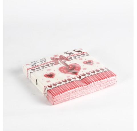 20 serviettes papier coeur rouge caribou