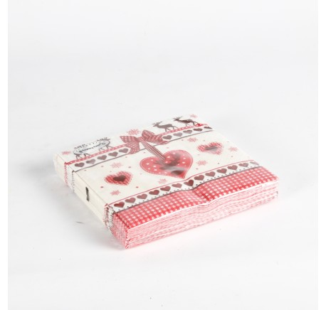 20 serviettes papier coeur rouge caribou -  - Lecomptoirdesauthentics