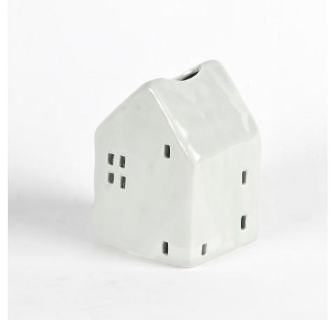 Photophore maisonnette en porcelaine grise 9x13x10.5 cm