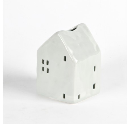 Photophore maisonnette en porcelaine grise 9x13x10.5 cm - Décoration de Noël  - Lecomptoirdesauthentics