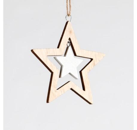 Suspension Etoile en bois ajouré naturel avec petite étoile blanche - Décoration de Noël  - Lecomptoirdesauthentics