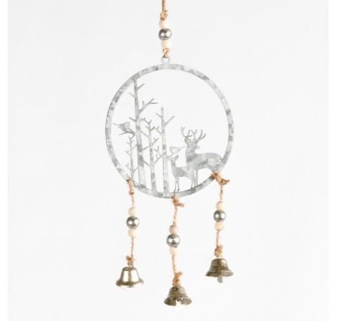 Suspension ronde avec cerfs et arbres en métal gris ajouré Haut. 21,5 cm