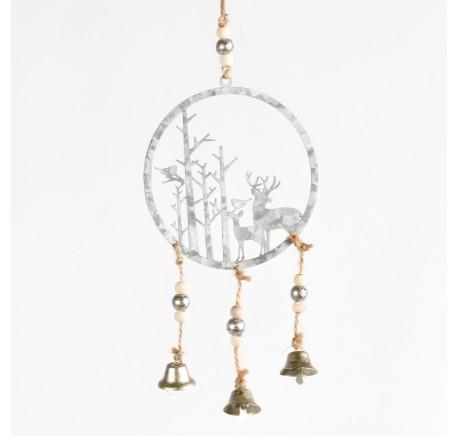 Suspension de Noël ronde avec cerfs et arbres en métal gris ajouré Haut. 21,5 cm - Décoration de Noël  - Lecomptoirdesauthentics