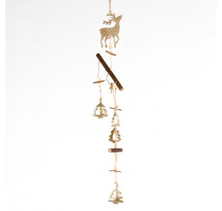 Suspension en métal doré avec cerfs, sapins, étoiles Haut. 44,5 cm - Décoration de Noël  - Lecomptoirdesauthentics