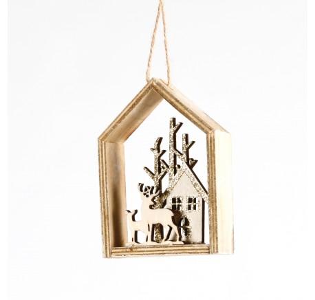 Suspension Maison en bois naturel Haut. 13,5 cm - Décoration de Noël  - Lecomptoirdesauthentics