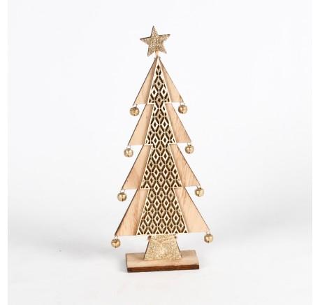 Sapin à poser en bois blanc/doré Haut. 31 cm - Décoration de Noël  - Lecomptoirdesauthentics