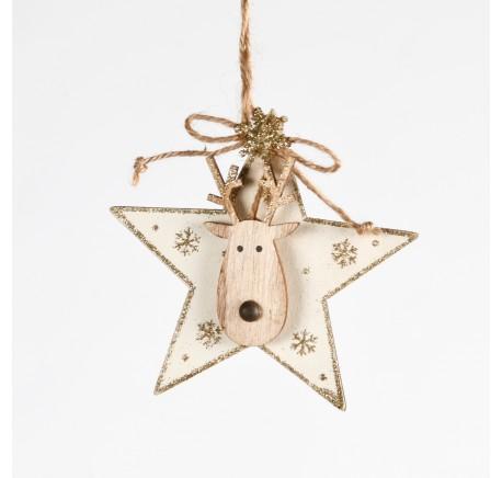 Suspension Etoile en bois blanc et doré Haut. 11,5 cm - Décoration de Noël  - Lecomptoirdesauthentics