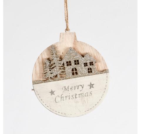 """Suspension ronde en bois """"Merry Christmas"""" Haut. 11,5 cm"""