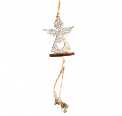 Suspension Ange en bois pailleté argenté Haut. 14,5 cm