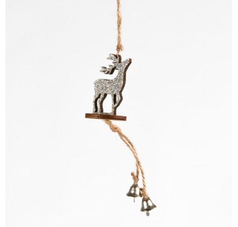 Suspension Cerf en bois pailleté argenté Haut. 14,5 cm
