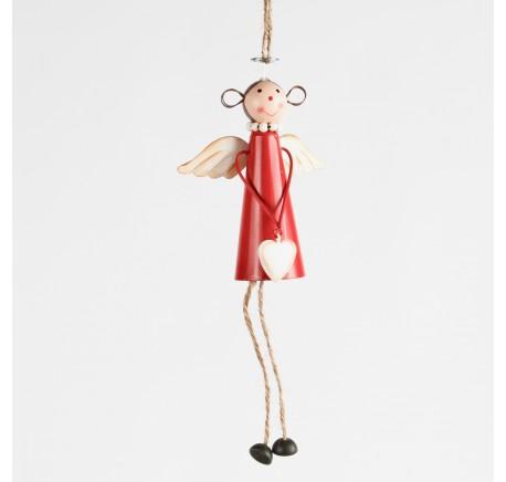 Suspension Ange en métal rouge Haut. 19 cm - Décoration de Noël  - Lecomptoirdesauthentics