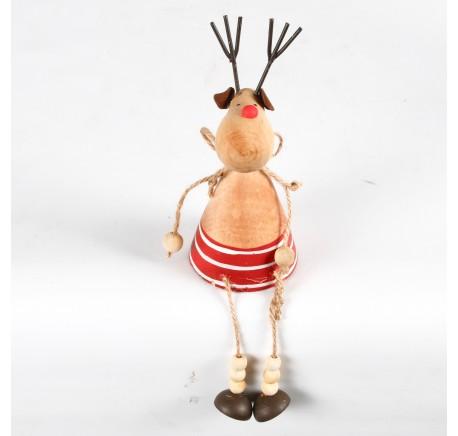 Déco de Noël cerf à poser en bois naturel et rouge Haut. 17,5 cm - Décoration de Noël  - Lecomptoirdesauthentics