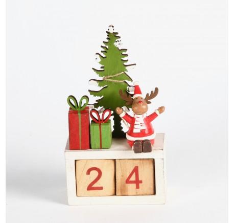 Calendrier de l'Avent avec décor sapin, cerf et cadeaux Haut. 18 cm - Décoration de Noël  - Lecomptoirdesauthentics