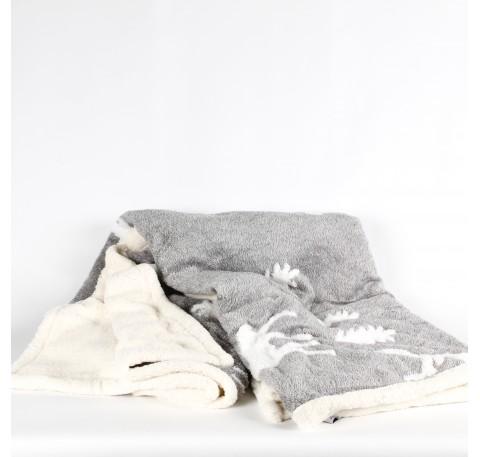 Plaid gris motif cerfs dessous sherpa 152X127cm