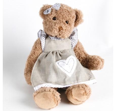 Peluche Ours Sylena avec robe tablier Louise Mansen 43 cm - Peluche, doudou - Lecomptoirdesauthentics