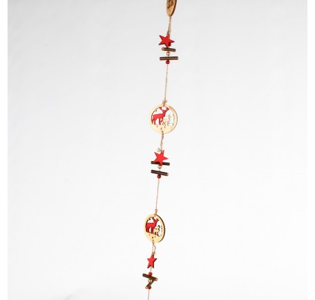 Guirlande 4 anneaux en bois naturel  - Décoration de Noël  - Lecomptoirdesauthentics
