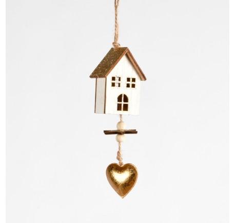Supension en bois blanc pailleté doré avec chalet et coeur Haut. 17 cm - Décoration de Noël  - Lecomptoirdesauthentics
