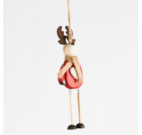 Cerf articulé à suspendre en bois Haut. 19,5 cm