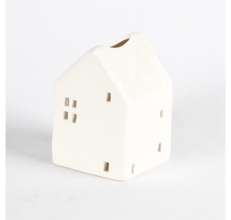 Photophore maisonnette en porcelaine blanche - Décoration de Noël  - Lecomptoirdesauthentics
