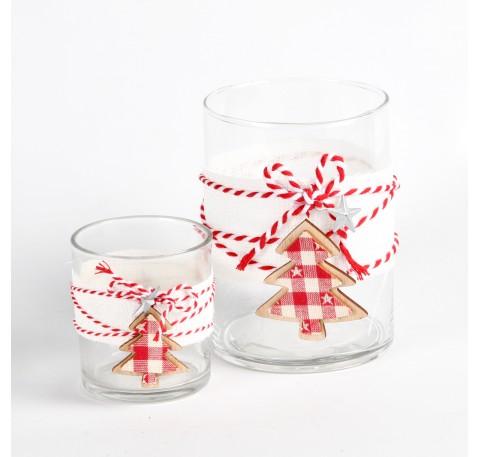 Photophores Lot de 2 en verre décor sapin bois et tissu rouge et blanc