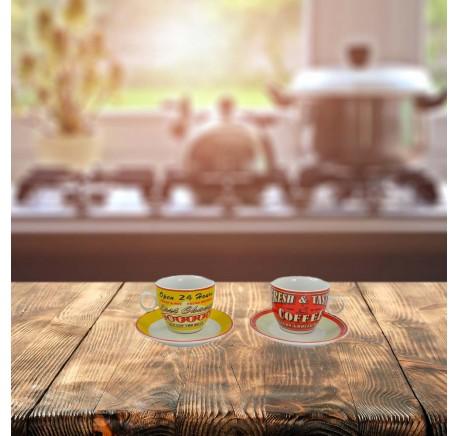 Set 2 Tasses à café VINTAGE AMERICAN - Vaisselle - Lecomptoirdesauthentics