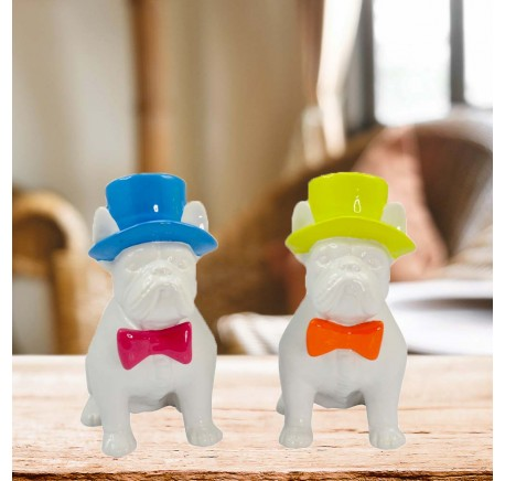 Chien Bulldog Chapeau Jaune Noeud Orange Papillon ARTY - Figurines, statuettes - Lecomptoirdesauthentics