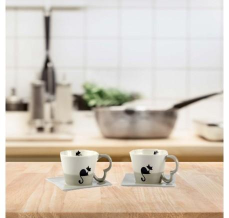 Set de 2 Grandes Tasses Chat WOODY - Vaisselle - Lecomptoirdesauthentics