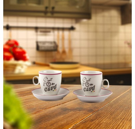 Set 2 Tasses à café ou Thé C'EST L'HEURE  - Vaisselle - Lecomptoirdesauthentics