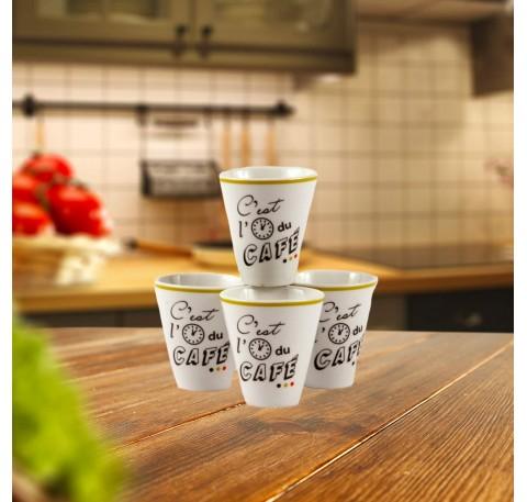 Set 4 Tasses à Café expresso C'EST L'HEURE