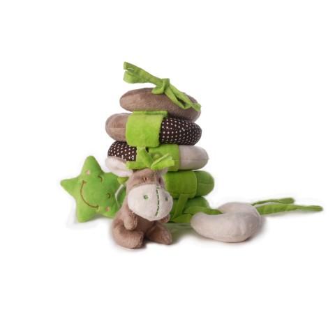 Doudou Spirale Bébé ANE Vert et Marron  pour poussette