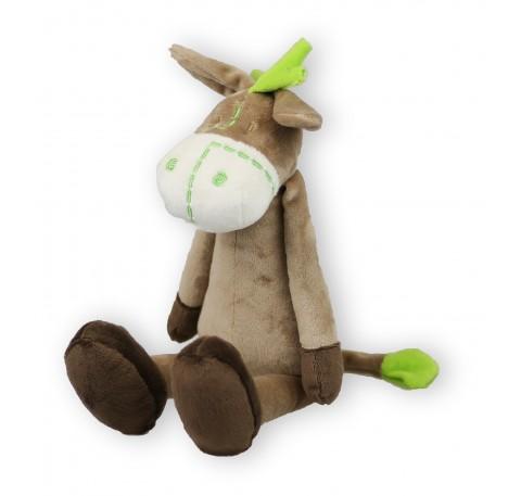 Doudou Bébé Ane Vert et Marron 32 cm ultra doux