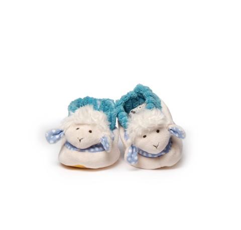 Chaussons Bébé Mouton tout doux en tissu Blanc et Bleu