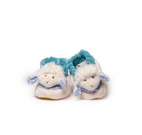 Chaussons Bébé Mouton tout doux en tissu Blanc et Bleu - Peluche, doudou - Lecomptoirdesauthentics