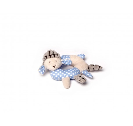 Hochet Bébé Mouton Bleu 10 cm - Peluche, doudou - Lecomptoirdesauthentics