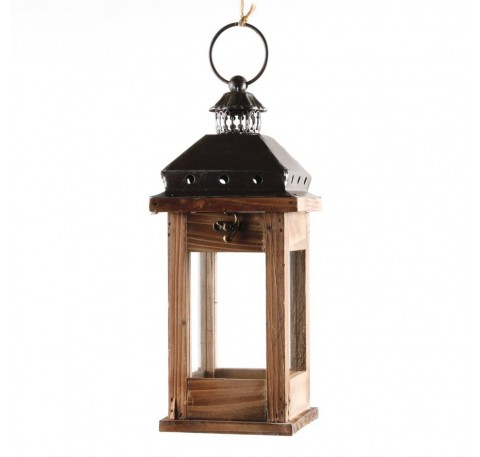 Lanterne bois et métal 31 cm