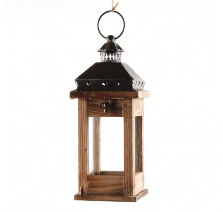 Lanterne bois et métal 31 cm - Lanterne - Lecomptoirdesauthentics