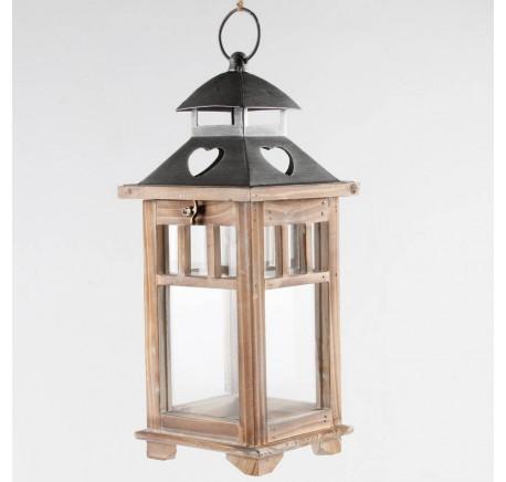 Lanterne bois et métal 40 cm - Lanterne - Lecomptoirdesauthentics