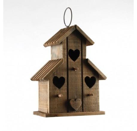 Cabane à Oiseaux bois trois ouvertures -  - Lecomptoirdesauthentics